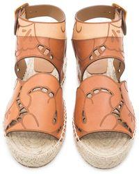 Chloé | Tucson Flower Leather Sandals | Lyst