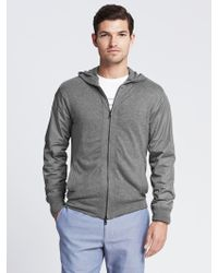 Banana Republic Gray Mixed-media Sweater Jacket - Lyst