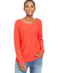 Eileen Fisher Heathered Boat-neck Sweater - Lyst
