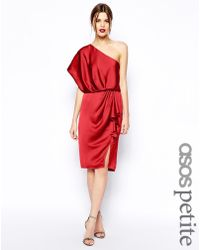 Asos Drapey Dress With One Shoulder - Lyst
