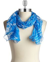 Lauren by Ralph Lauren Floral And Striped Ruffle Scarf - Lyst