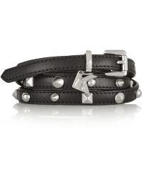 Karl Lagerfeld - Studded Leather Skinny Belt - Lyst