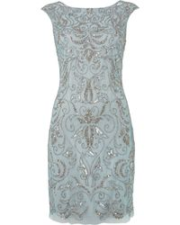 Adrianna Papell Brocade Beaded Dress - Lyst