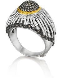 Coomi - Spring Silver Ring With Gold Dome & Diamonds - Lyst