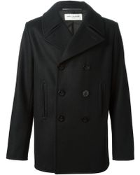 Saint Laurent Black Classic Peacoat - Lyst