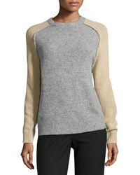 Halston Heritage Wool-cashmere Blend Colorblock Sweater - Lyst