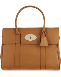 Mulberry Bayswater Glossy Goat Leather Tote Brown - Lyst