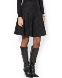Lauren by Ralph Lauren Plaid Wool Flare Skirt - Lyst
