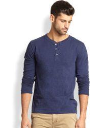 Madison Supply Slub Henley Shirt - Lyst