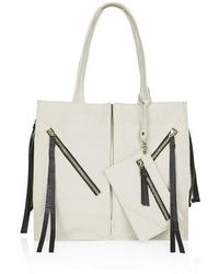 Topshop Zippy Leather Tote Bag - Lyst