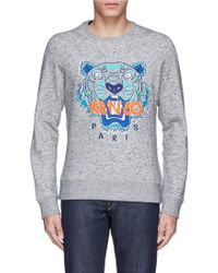 Kenzo Men'S Grey Tiger Logo Sweatshirt - Lyst