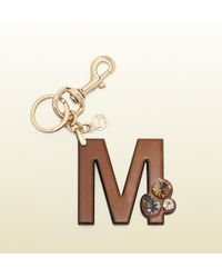 Gucci M Leather Charm with Swarovski Crystals - Lyst