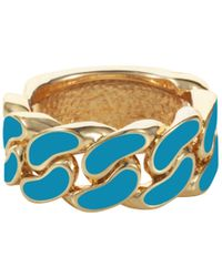 House of Holland - Turquoise Blue Id Plate Ring - Lyst