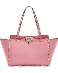 Valentino Pink Small Rockstud Shoulder Bag - Lyst
