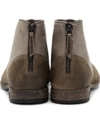 Diesel Olive Distressed Leather Chron Boots - Lyst