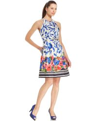 Eliza J Sleeveless Floralprint Belted Dress - Lyst