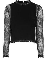Topshop Lace Sleeve Velvet Top - Lyst