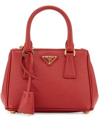 116d3c49d52 Prada Extra-Mini Saffiano Leather Cross-Body Bag in Red - Lyst
