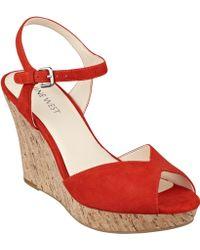 Nine West Bigeasy Open Toe Wedge Sandals - Lyst