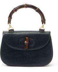 Gucci Navy Bamboo Handbag - Lyst