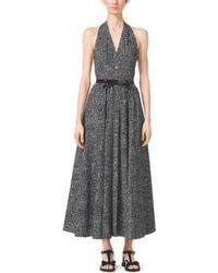 Michael Kors Crosshatch-Print Cotton-Poplin Halter Dress - Lyst
