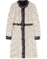 Matthew Williamson Embellished Wool Paneled Mohair Coat - Lyst