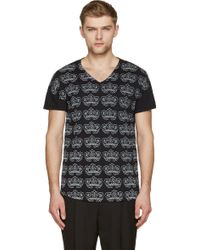 Ann Demeulemeester Black And Pale Grey Floral Print V_Neck T_Shirt - Lyst