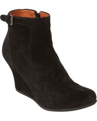 Lanvin Bucklestrap Wedge Ankle Booties - Lyst
