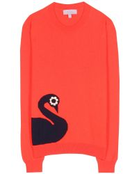 Mulberry Mini Swan Intarsia Cashmere and Cottonblend Sweater red - Lyst