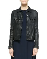 The Row Washed Leather Trucker Jacket - Lyst