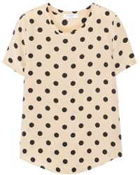 Equipment Riley Polkadot Washedsilk Top - Lyst