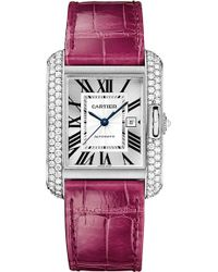 Cartier Tank Anglaise 18ct Whitegold and Leather Medium Watch - Lyst
