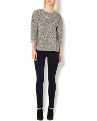 Therapy Leopard Jaquard Sweat Jumper With Necklace - Lyst