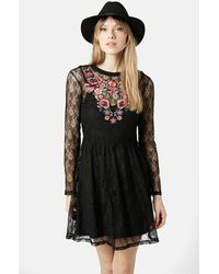 Topshop Embroidered Flippy Dress - Lyst