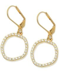 T Tahari Goldtone Crystal Pavé Circle Drop Earrings - Lyst