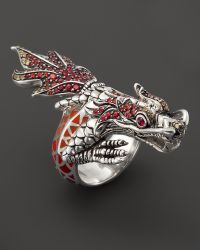 John Hardy Naga Sterling Silver Lava and Enamel Dragon Wrap Ring with Multicolored Sapphires and African Ruby Eyes - Lyst