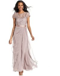 Adrianna Papell Petite Cap-Sleeve Lace Tiered Gown - Lyst