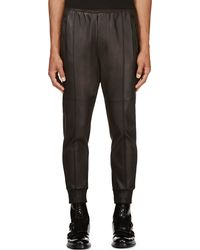 DSquared2 Black Leather Jog Trousers - Lyst