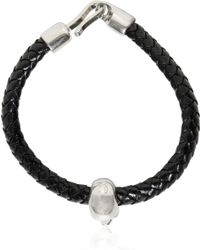 Alexander McQueen Skull Weaved Leather Bracelet - Lyst