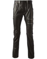 Diesel Leather Skinny Trousers - Lyst