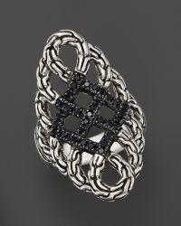 John Hardy Classic Chain Silver Lava Large Saddle Ring with Black Sapphire Bloomingdales Exclusive - Lyst