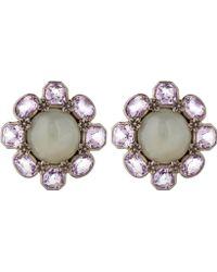 Stephen Dweck - Silver Grey Moonstone Flower Stud Earrings - Lyst
