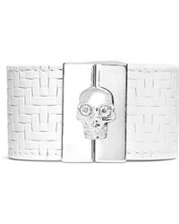 Alexander McQueen Skull Clasp Tatami Embossed Wide Leather Bracelet - Lyst