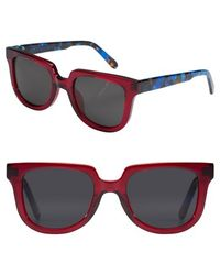 Krewe - 'lyons' 50mm Retro Sunglasses - Burgundy/ Blue Steel - Lyst