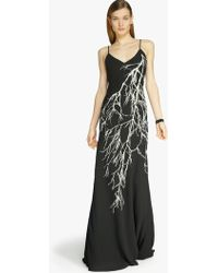 Halston Feather Detail Georgette Gown black - Lyst