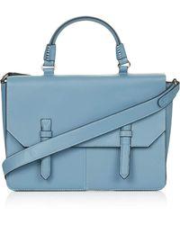 Topshop Womens Large Faux Leather Cleancut Satchel Blue - Lyst