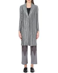 Pleats Please Issey Miyake Button-Fastened Long Pleated Coat - Lyst