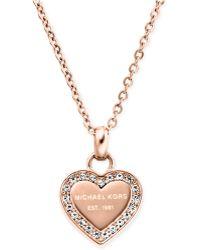 Michael Kors Crystal Heart Pendant Necklace - Lyst