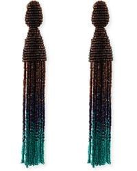 Oscar de la Renta Long Ombre Bead Tassel Clipon Earrings - Lyst