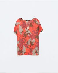Zara Printed Top with Applique - Lyst